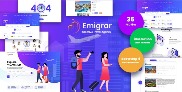 Emigrar- Creative Travel Agency PSD Template - Retail Photoshop