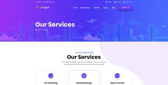Emigrar- Creative Travel Agency PSD Template
