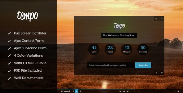 Tempo - Full Screen Coming Soon Template - Under Construction Specialty Pages