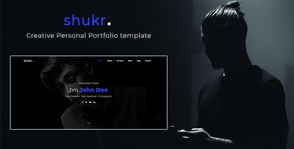 shukr - Creative Personal Portfolio template - Personal Site Templates
