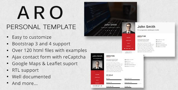 ARO - Responsive Personal Portfolio Template - Virtual Business Card Personal
