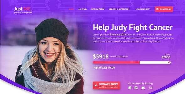Just Me - Your Personal Charity, Donation or Fundraiser Template
