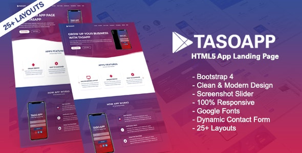Tasoapp-App Landing Page - Technology Site Templates