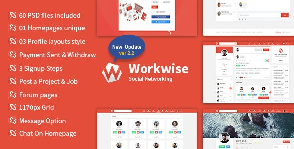 Workwise - The Freelancer And Social Networking PSD Template - Creative Photoshop