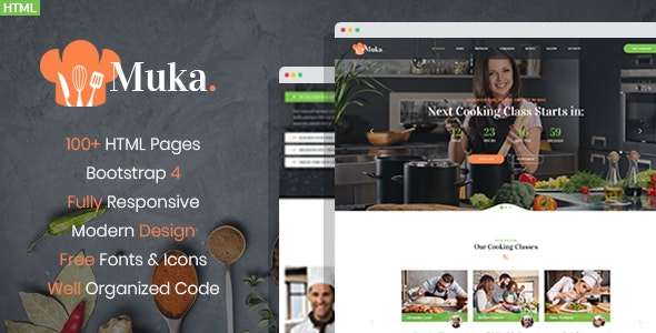 Muka - Bakery and Cooking Classes HTML Template - Food Retail