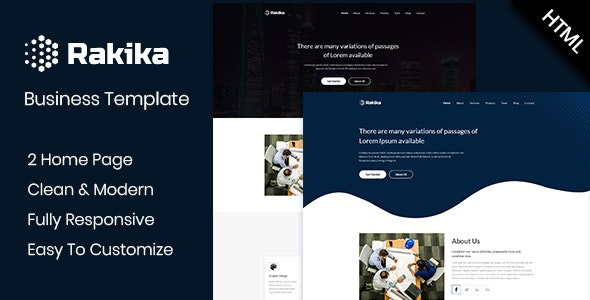 Rakika - One Page Business HTML Template - Business Corporate