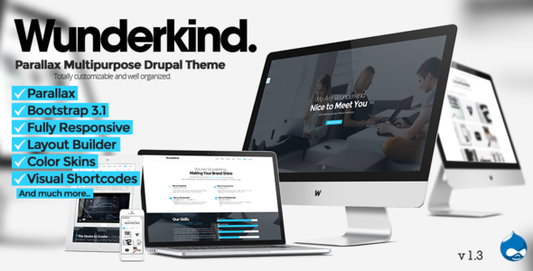 Wunderkind - One Page Parallax Drupal 7 Theme - Business Corporate