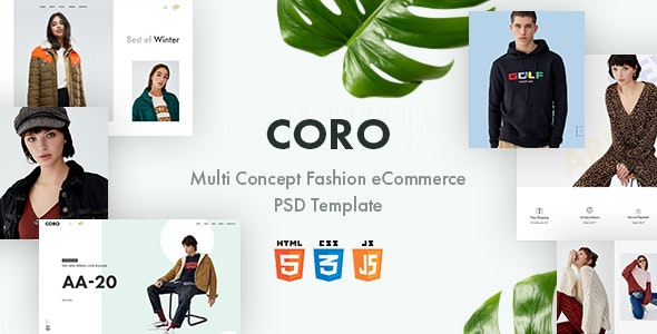 Coro – Multi Concept Fashion eCommerce PSD Template - Fashion Retail