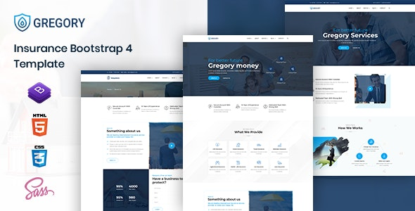 Gregory - Insurance Agency HTML Template - Business Corporate
