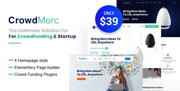 Download Crowdmerc - Crowdfunding Startup Fundraising WordPress Theme