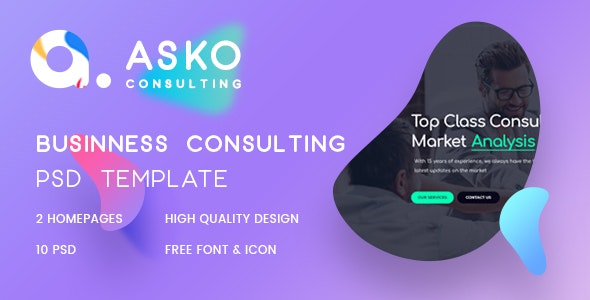 Asko - Business, Advice, Finance Consulting Psd Template - Business Corporate