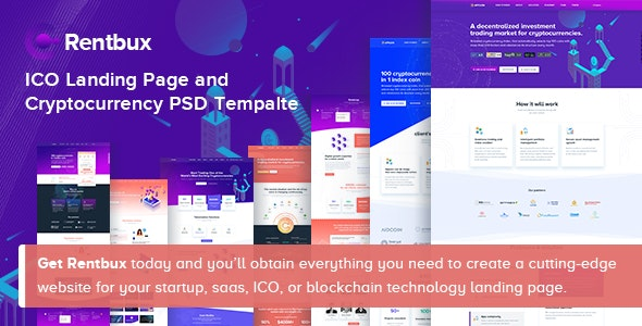 Rentbux - SaaS, Startup and Technology PSD Template - Technology Photoshop