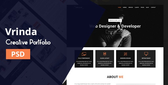 Vrinda | Portfolio PSD Template - Portfolio Creative