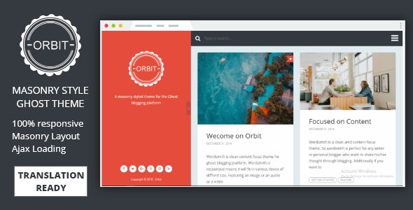 Orbit - Masonry Style Responsive Ghost Theme - Ghost Themes Blogging