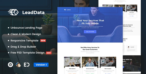 LeadData - Lead Generation Unbounce Landing Page Template - Unbounce Landing Pages Marketing