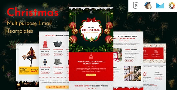 Christmas-Responsive Email Template + Online Builder - Email Templates Marketing