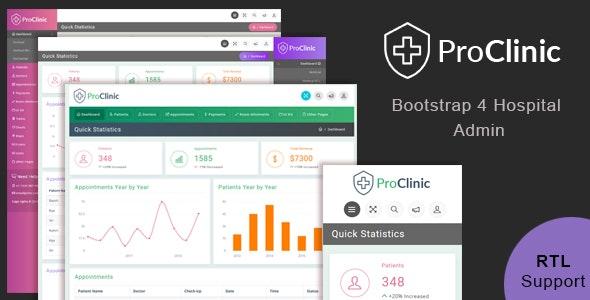 ProClinic - Bootstrap4 Hospital Admin Template - Admin Templates Site Templates