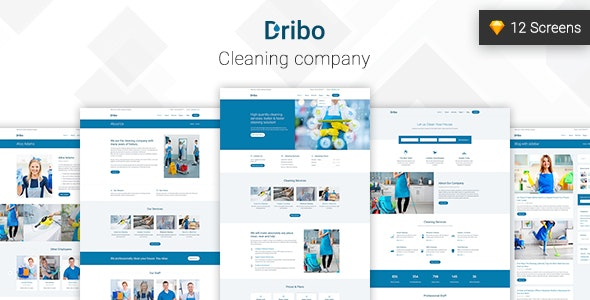 Dribo — Cleaning company Sketch Template - Sketch Templates