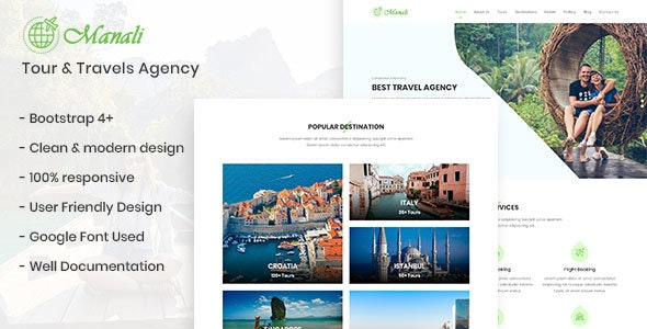 Manali - Tour & Travels Agency Template - Travel Retail