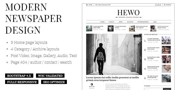 Hewo - Modern Newspaper HTML Template