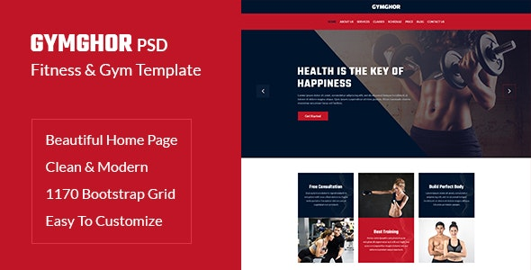 Gymghor - One Page Fitness & Gym PSD Template - Health & Beauty Retail