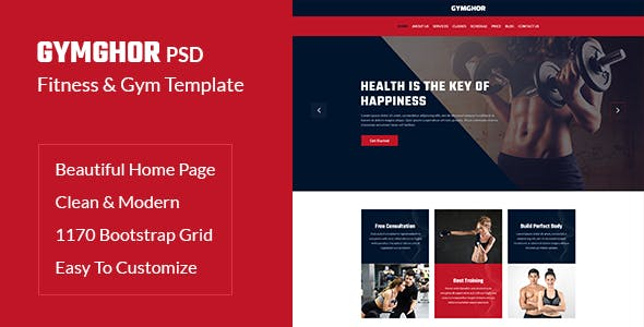Gymghor - One Page Fitness & Gym PSD Template