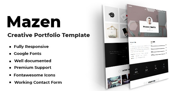 Mazen - Creative Portfolio Template - Virtual Business Card Personal