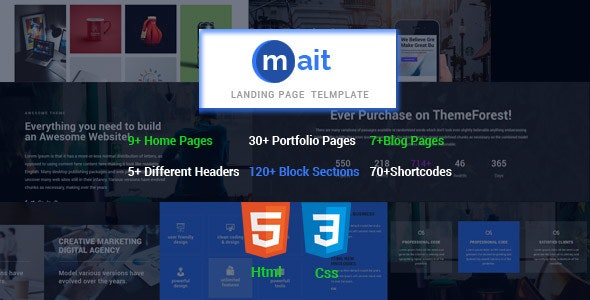 Mait   |  Responsive Bootstrap Html  Landing Page Template - Creative Landing Pages