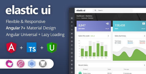 elastic ui - Angular 7 Material Design & Redux Admin Template by visurel