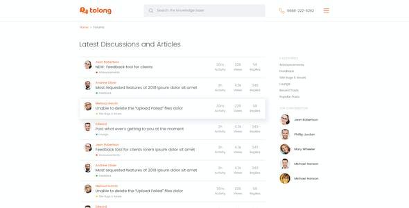 Tolong - Help Desk / Knowledge Base PSD Template