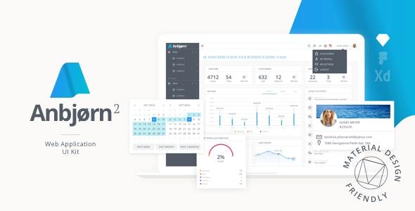 Anbjorn 2 | Web App Rapid Prototype Design UI Kit - Sketch UI Templates