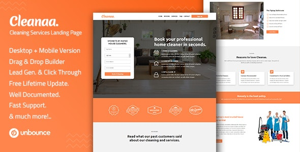 Cleanaa — Cleaning Services Unbounce Landing Page Template - Unbounce Landing Pages Marketing