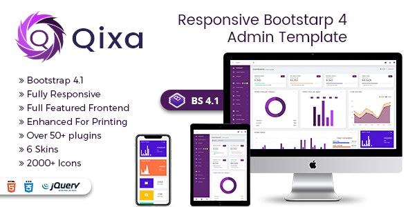 Qixa - Responsive Bootstrap 4 Admin Dashboard Template - Admin Templates Site Templates
