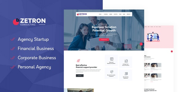 Zetron- Startup Agency & Financial  Template - Business Corporate
