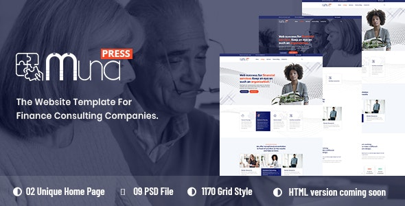 Muna - Finance Consulting PSD Template - Business Corporate