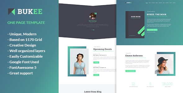 BUKEE - Book Author One Page PSD Template - Marketing Corporate