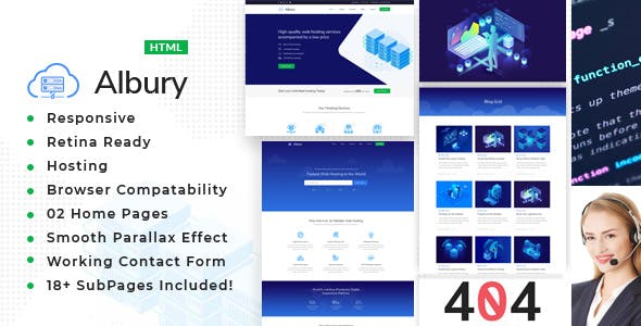 Albury - Responsive Hosting, Domain and Technology Template