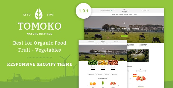Tomoko - Organic Food/Fruit/Vegetables Responsive Shopify Theme - Shopify eCommerce