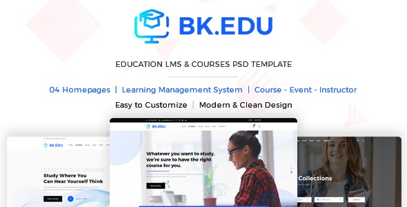 BKEDU - Education LMS & Courses PSD Template - Corporate PSD Templates