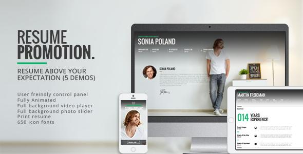 Promotion - Animated CV Resume Theme - Personal Blog / Magazine