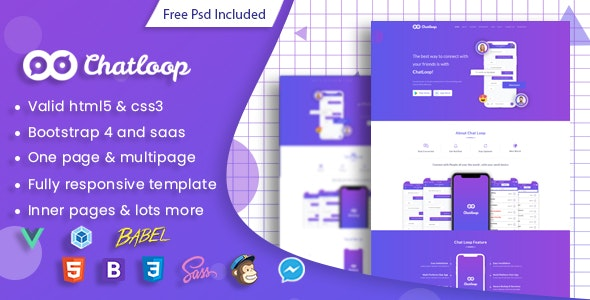 Chatloop - Vue JS App Landing Page by PixelStrap | ThemeForest