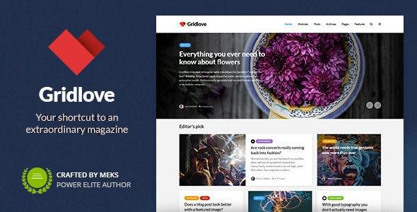 Gridlove - Creative Grid Style News & Magazine WordPress Theme - News / Editorial Blog / Magazine