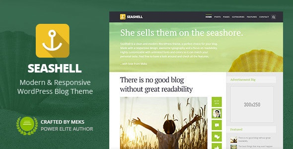SeaShell - Modern Responsive WordPress Blog Theme - Personal Blog / Magazine