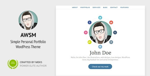 AWSM - One Page CV / Resume & Personal Portfolio WordPress Theme - Portfolio Creative