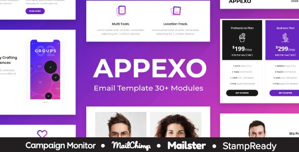 Appexo - App Responsive Email Template + Mailster + StampReady Builder + Mailchimp Editor