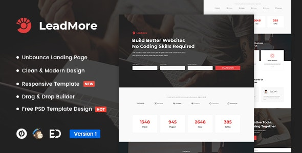 LeadMore - Lead Generation Unbounce Landing Page Template - Unbounce Landing Pages Marketing