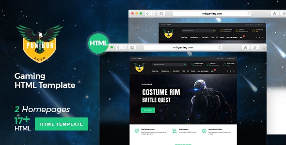 Punibor - Gaming Store HTML Template - Entertainment Site Templates