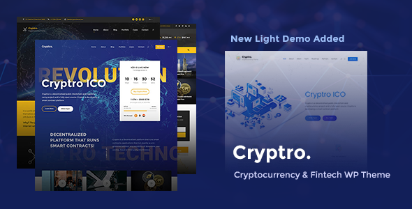 Cryptro - Cryptocurrency, Blockchain , Bitcoin & Financial Technology WordPress Theme - Business Corporate