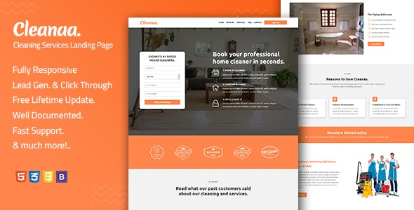 Cleanaa — Cleaning Services Landing Page Template - Landing Pages Marketing