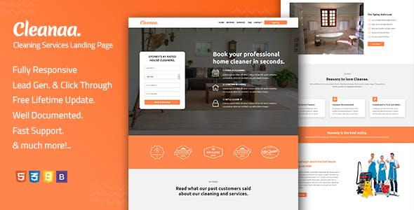 Cleanaa — Cleaning Services Landing Page Template